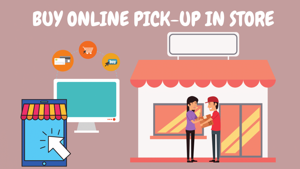 Cartoon image depicting Computer and tablet and customer collecting item from store